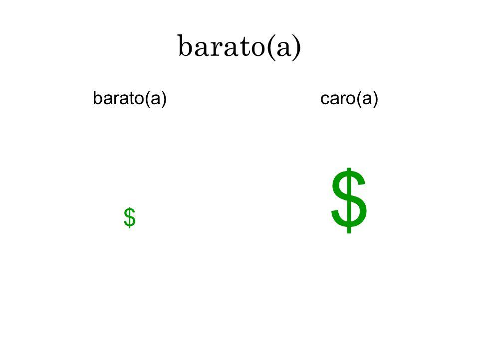 barato(a) $ caro(a) $