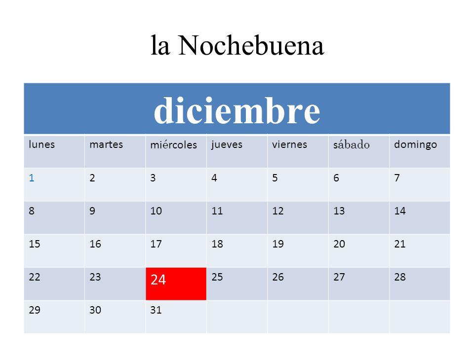 la Nochebuena diciembre lunesmartesmi é rcolesjuevesvierness ábado domingo 1234567 891011121314 15161718192021 2223 24 25262728 293031