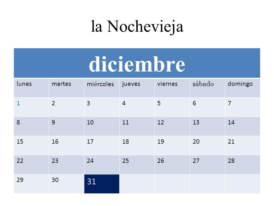 la Nochevieja diciembre lunesmartesmi é rcolesjuevesvierness ábado domingo 1234567 891011121314 15161718192021 22232425262728 2930 31