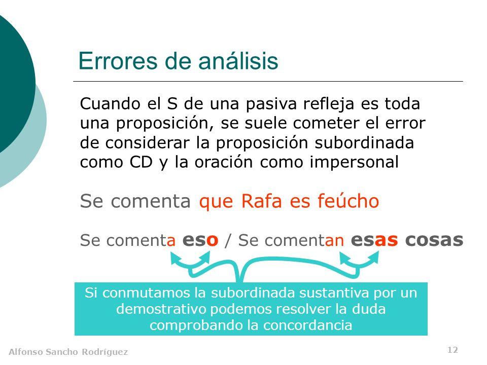 Alfonso Sancho Rodríguez 11 Confusión impersonal / pasiva Construcción intransitiva CD precedido de a No hay concordancia entre el elemento nominal y