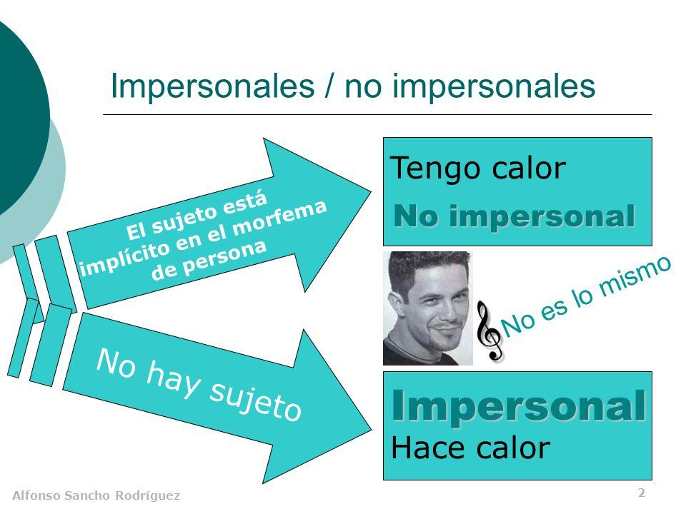 Alfonso Sancho Rodríguez 1 Impersonales Carecen de sujeto. Tienen un solo miembro: el sintagma predicado.
