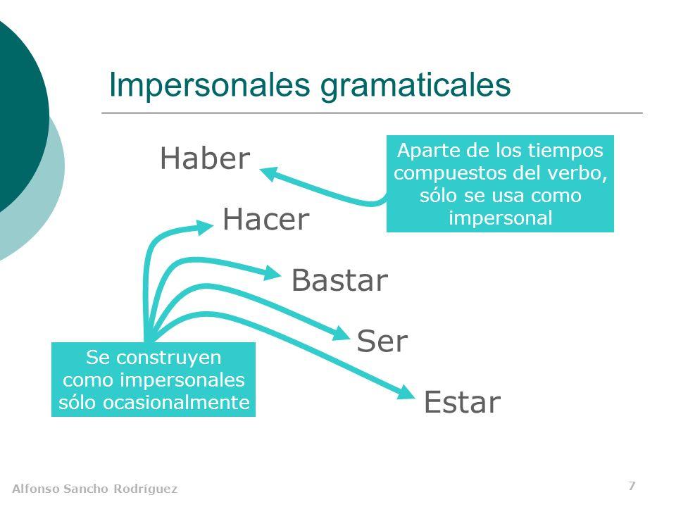 Alfonso Sancho Rodríguez 6 Usos figurados de estos verbos A Miguel le van a llover ¿Impersonales? amaneció a su lado.Elsa los suspensos. Sujeto