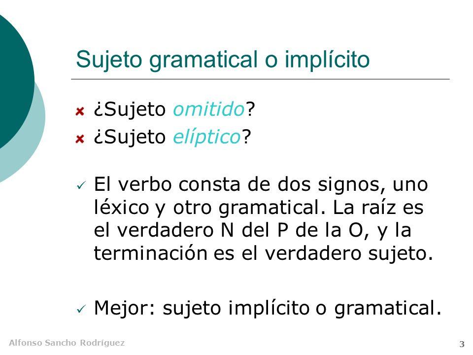 Alfonso Sancho Rodríguez 3 Sujeto gramatical o implícito ¿Sujeto omitido.