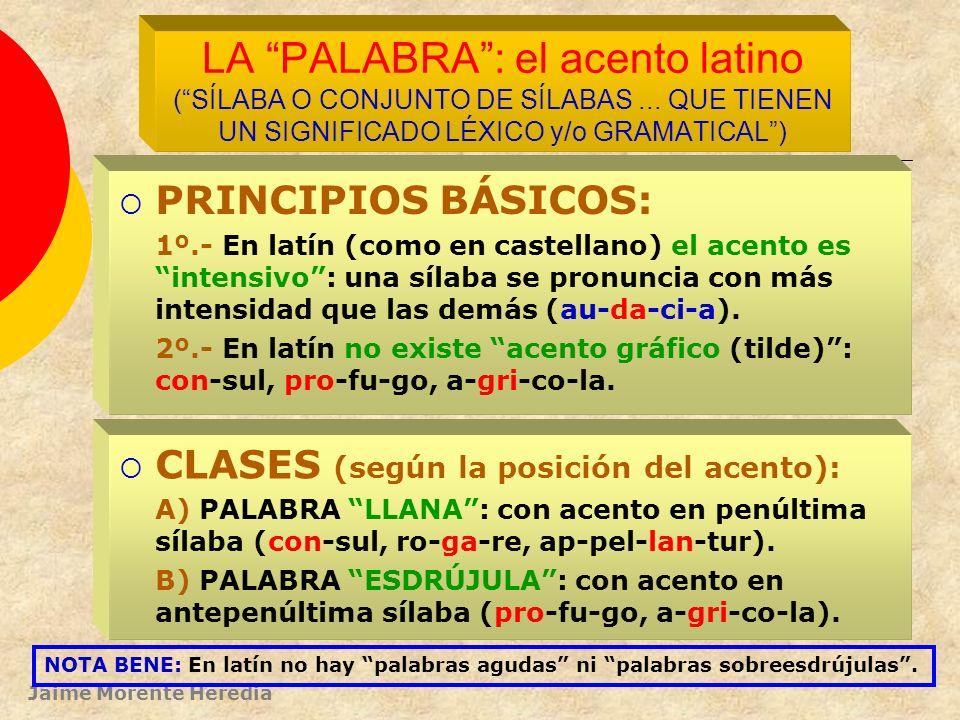 Jaime Morente Heredia LA SÍLABA: (SONIDO O CONJUNTO DE SONIDOS QUE SE EMITEN EN UN SOLO GOLPE DE VOZ) PRINCIPIOS BÁSICOS: 1º.- Las consonantes y semic