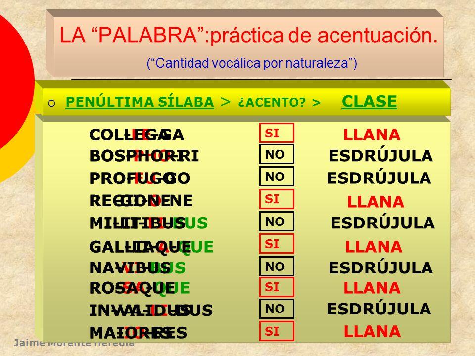 Jaime Morente Heredia LA PALABRA:práctica de acentuación. (Cantidad vocálica por posición) PENÚLTIMA SÍLABA > ¿ACENTO? > CLASE A-CHIL-LAM DI-RRA-CHI-O