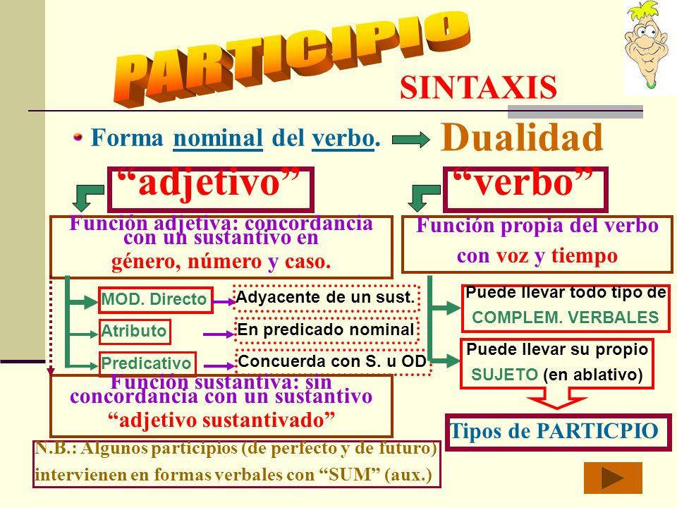SINTAXIS Forma nominal del verbo.