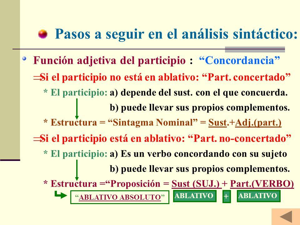 Pasos a seguir en el análisis sintáctico: Función adjetiva del participio : Concordancia S i el participio no está en ablativo: Part.