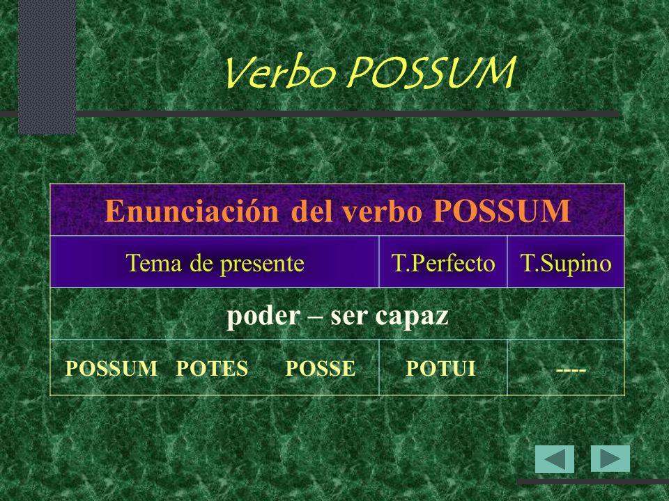 Verbo POSSUM Enunciación del verbo POSSUM Tema de presenteT.PerfectoT.Supino poder – ser capaz POSSUMPOTESPOSSEPOTUI----
