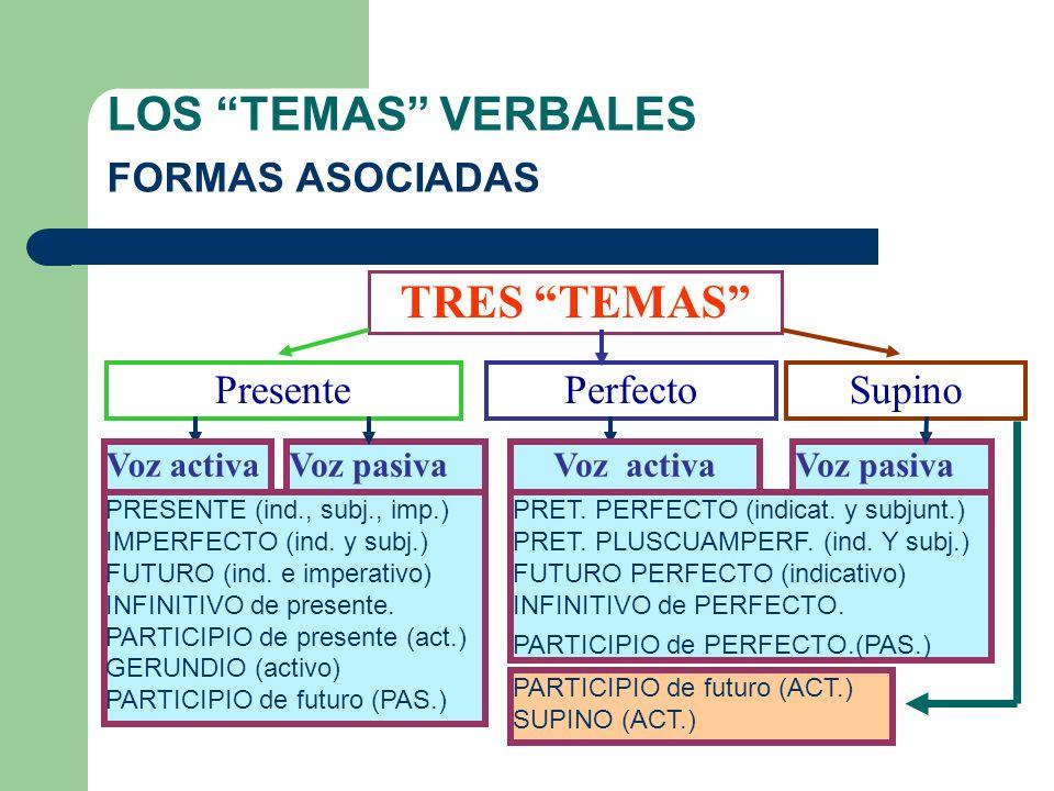 LOS TEMAS VERBALES FORMAS ASOCIADAS TRES TEMAS PresentePerfectoSupino PRESENTE (ind., subj., imp.) IMPERFECTO (ind.