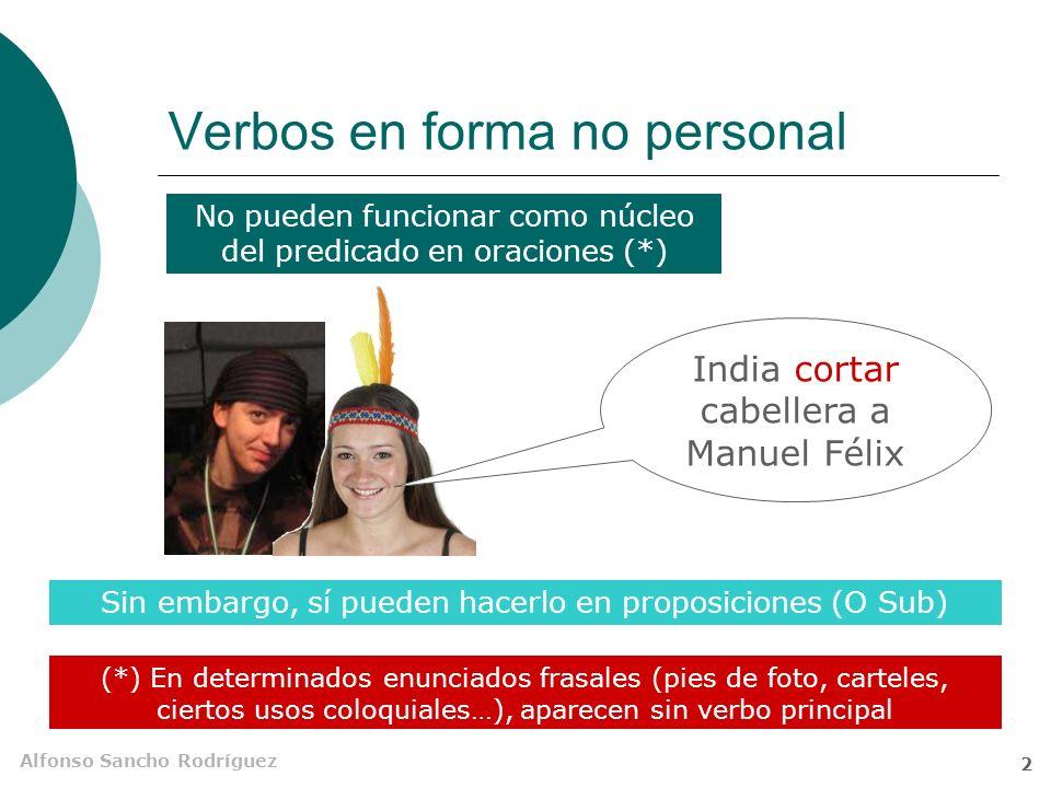 Alfonso Sancho Rodríguez 1 Subordinadas con verbos en forma no personal Son frecuentes las estructuras que tienen un infinitivo, un gerundio o un part