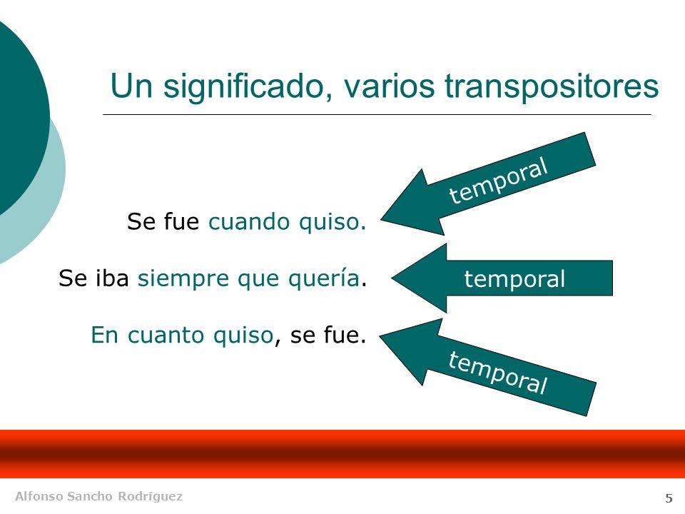 Alfonso Sancho Rodríguez 5 Un significado, varios transpositores En cuanto quiso, se fue.