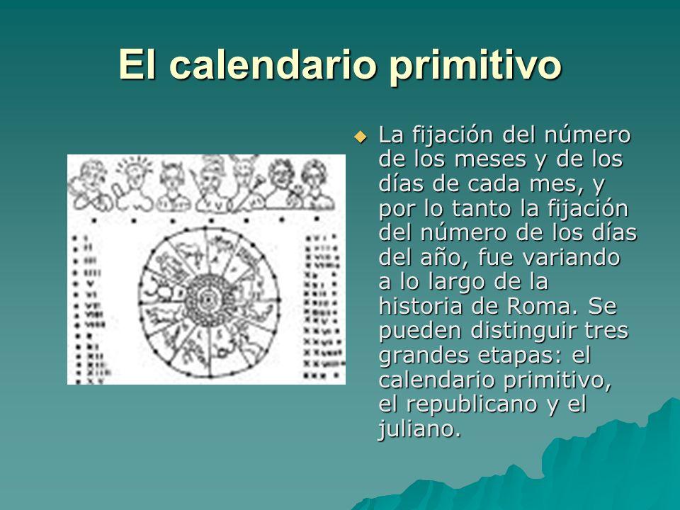 El calendario primitivo Presenta las siguientes características: Presenta las siguientes características: · Tenía una base lunar; el comienzo de los meses coincidía con la aparición de la Luna nueva y su duración era la del ciclo lunar: 28-29 días.