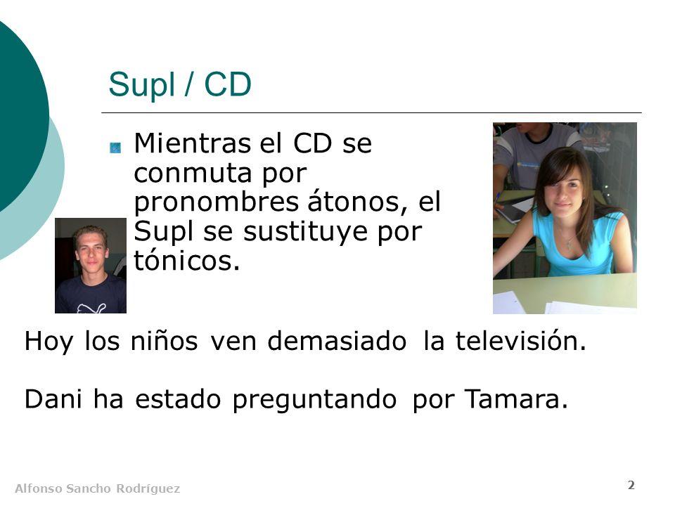 Alfonso Sancho Rodríguez 1 El suplemento (Supl) Es un SN o unidad equivalente que ciertos verbos necesitan para completar su significado.