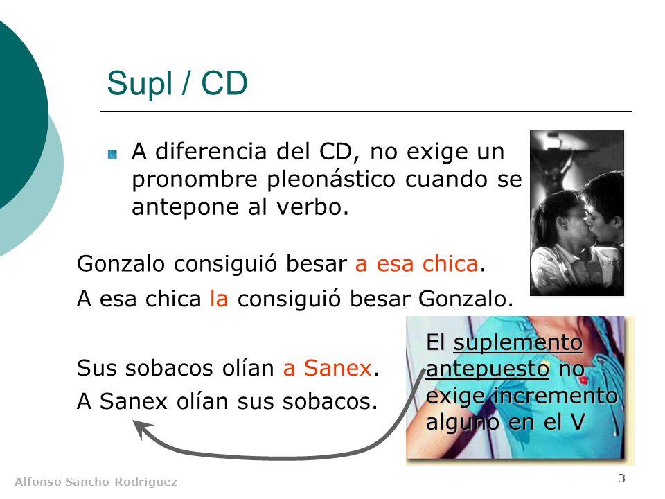 Alfonso Sancho Rodríguez 2 Supl / CD Mientras el CD se conmuta por pronombres átonos, el Supl se sustituye por tónicos.