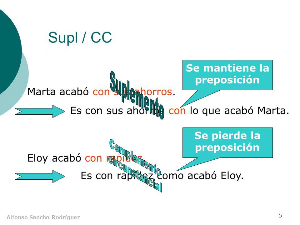 Alfonso Sancho Rodríguez 4 Supl / CD El CD puede construirse sin preposición, el Supl necesita de la preposición seleccionada por el verbo.