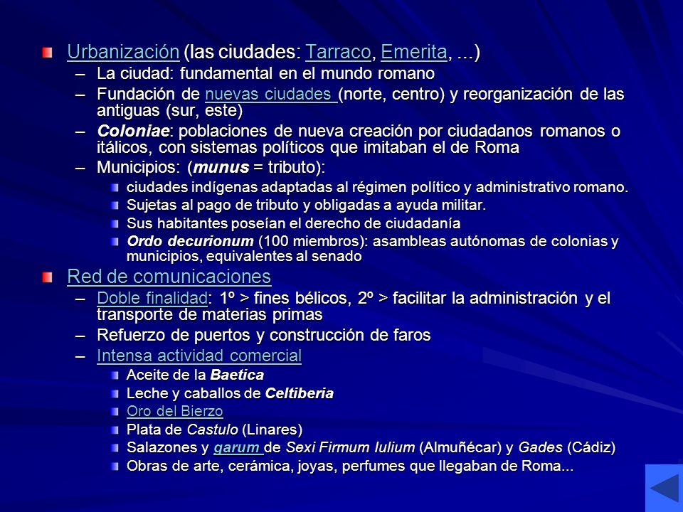 UrbanizaciónUrbanización (las ciudades: Tarraco, Emerita,...) TarracoEmerita UrbanizaciónTarracoEmerita –La ciudad: fundamental en el mundo romano –Fu