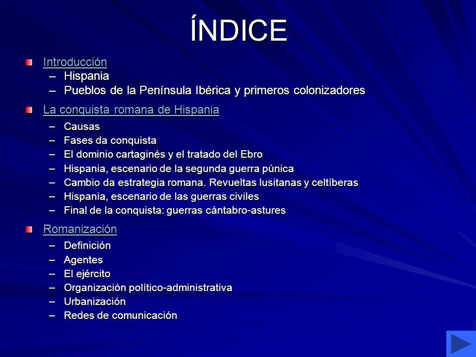 ÍNDICE Introducción –Hispania –Pueblos de la Península Ibérica y primeros colonizadores La conquista romana de Hispania La conquista romana de Hispani