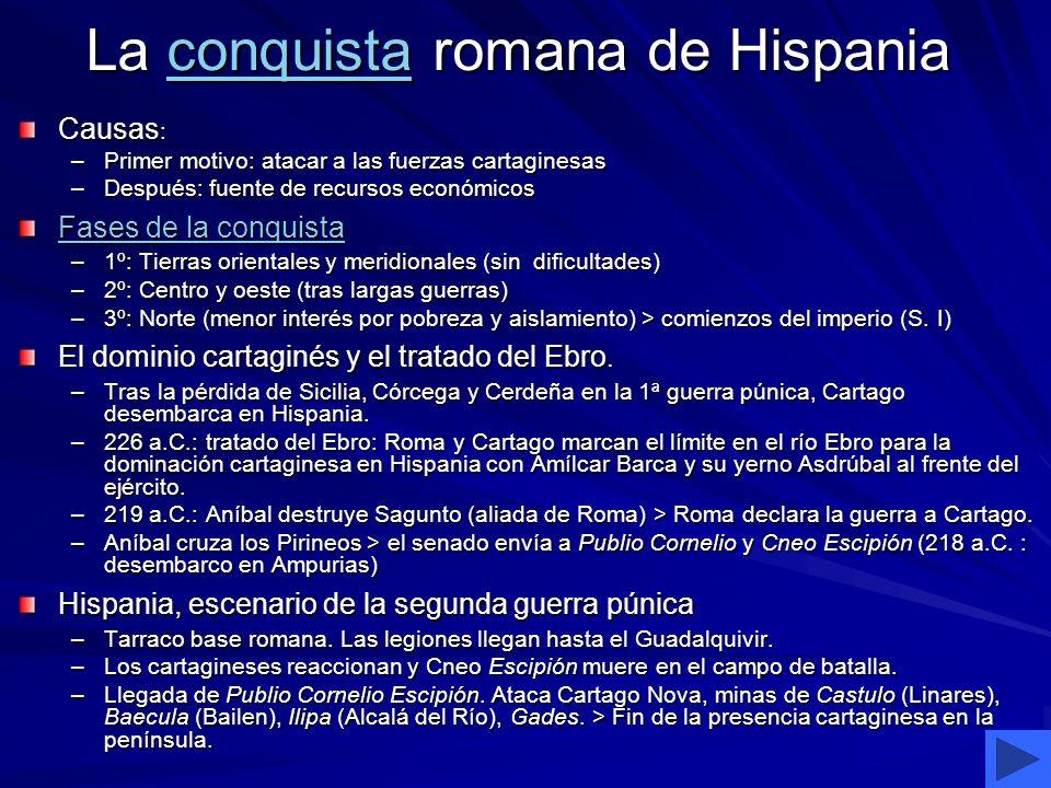 La conquista romana de Hispania conquista Causas : –Primer motivo: atacar a las fuerzas cartaginesas –Después: fuente de recursos económicos Fases de