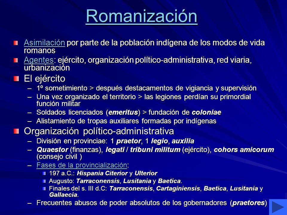 Romanización AsimilaciónAsimilación por parte de la población indígena de los modos de vida romanos Asimilación AgentesAgentes: ejército, organización