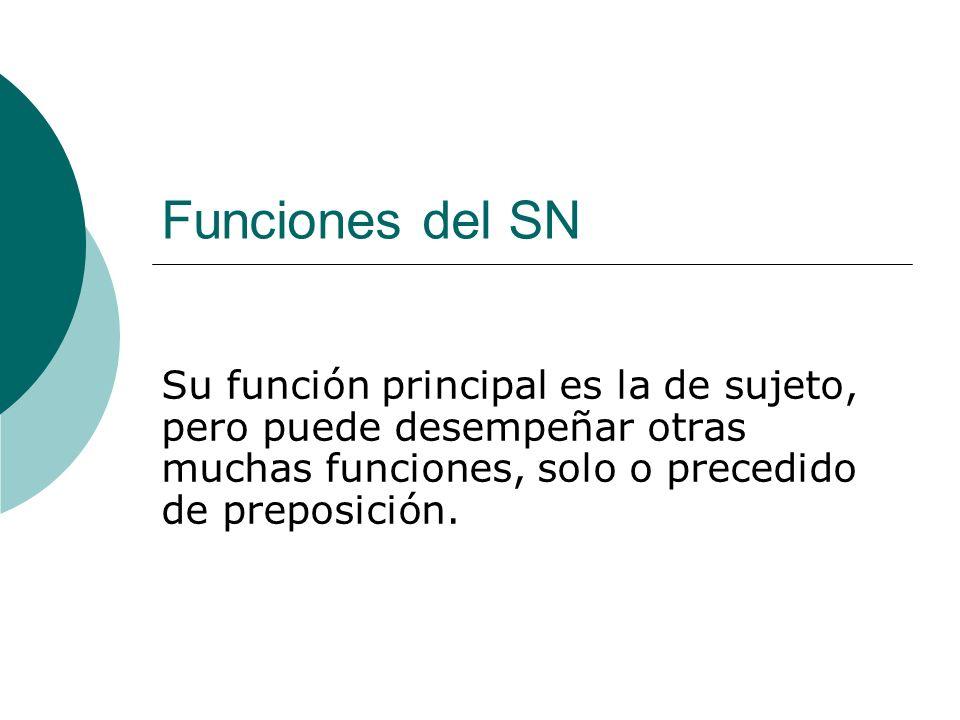 Funciones del SN Su función principal es la de sujeto, pero puede desempeñar otras muchas funciones, solo o precedido de preposición.