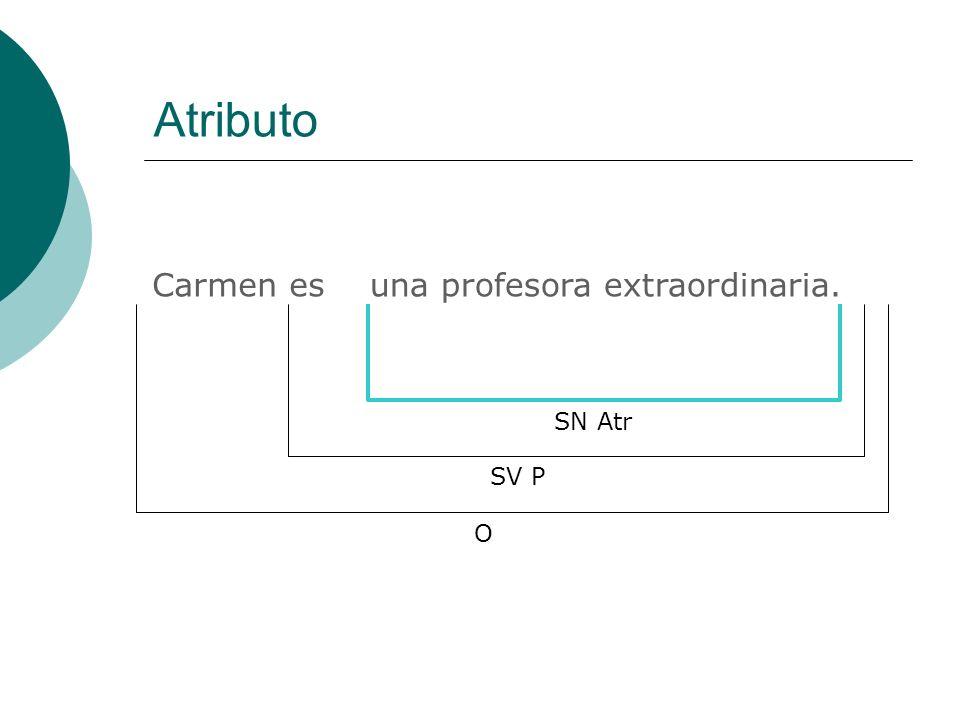 Atributo Carmen esuna profesora extraordinaria. SN Atr O SV P