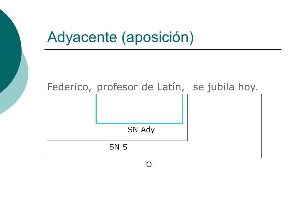 Adyacente (aposición) Federico, SN Ady O SN S profesor de Latín,se jubila hoy.