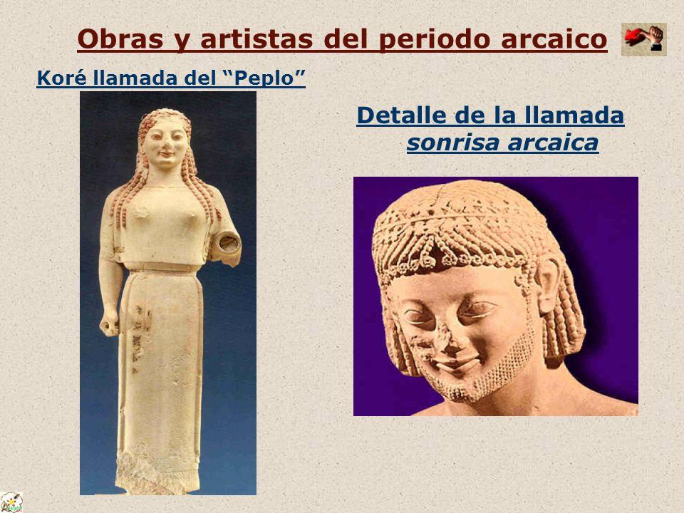 Obras y artistas del periodo arcaico Koré llamada del Peplo Detalle de la llamada sonrisa arcaica