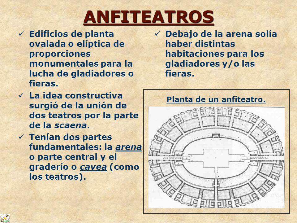 ANFITEATROS Edificios de planta ovalada o elíptica de proporciones monumentales para la lucha de gladiadores o fieras. La idea constructiva surgió de