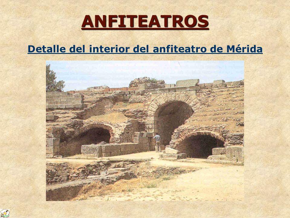 ANFITEATROS Detalle del interior del anfiteatro de Mérida