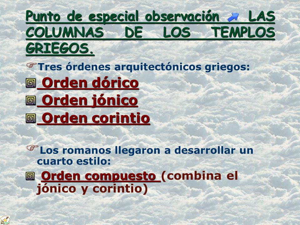 ORDEN DÓRICO ORDEN DÓRICO Características: Las columnas son robustas, ligeramente más anchas en el centro que en los extremos.