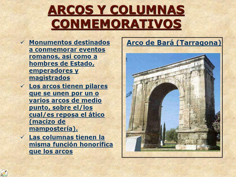 ARCOS Y COLUMNAS CONMEMORATIVOS Monumentos destinados a conmemorar eventos romanos, así como a hombres de Estado, emperadores y magistrados Los arcos