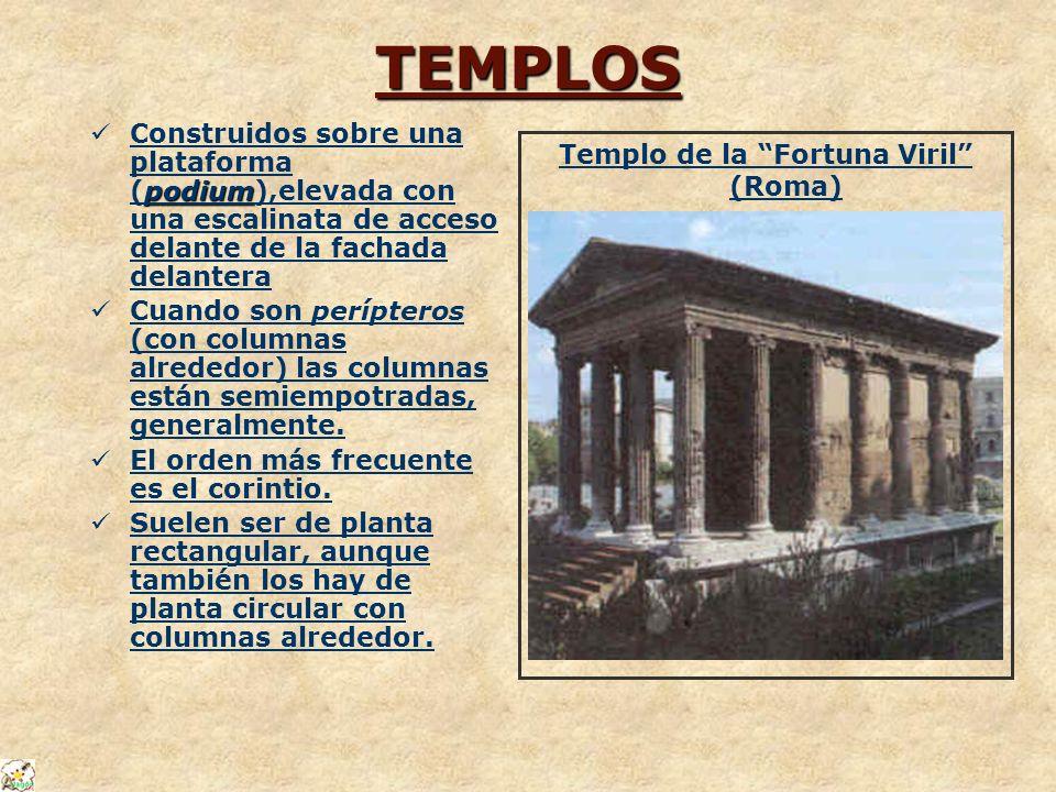 TEMPLOS podium Construidos sobre una plataforma (podium),elevada con una escalinata de acceso delante de la fachada delantera Cuando son perípteros (c