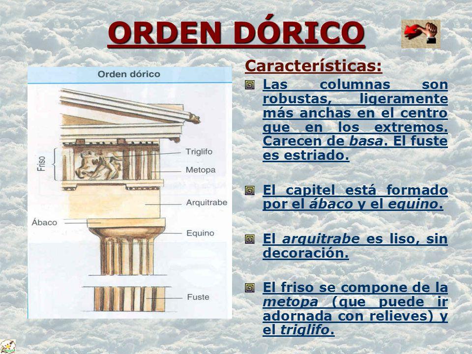 ORDEN DÓRICO ORDEN DÓRICO Características: Las columnas son robustas, ligeramente más anchas en el centro que en los extremos. Carecen de basa. El fus