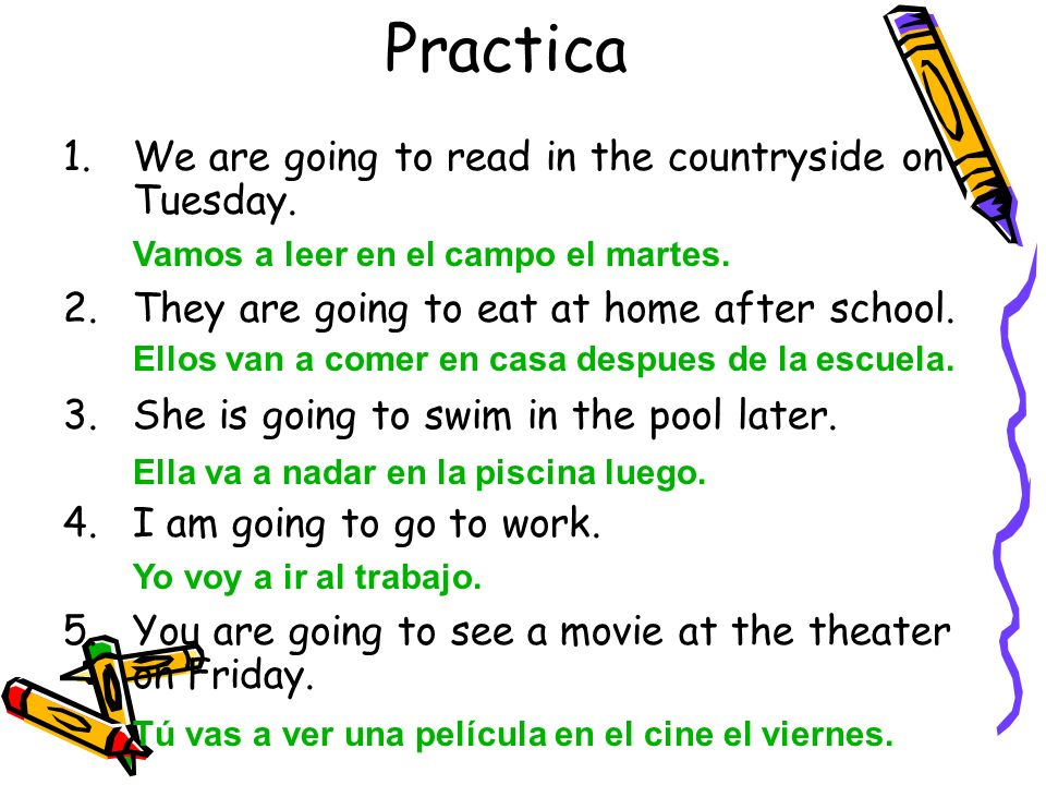 Practica 1.We are going to read in the countryside on Tuesday. 2.They are going to eat at home after school. 3.She is going to swim in the pool later.
