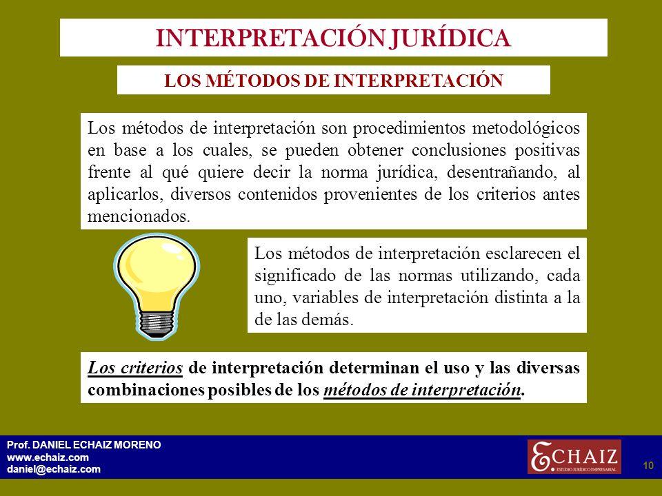 2910 Prof. DANIEL ECHAIZ MORENO www.echaiz.com daniel@echaiz.com 10 INTERPRETACIÓN JURÍDICA LOS MÉTODOS DE INTERPRETACIÓN Los métodos de interpretació