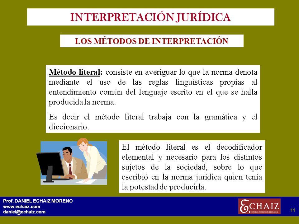 2911 Prof. DANIEL ECHAIZ MORENO www.echaiz.com daniel@echaiz.com 11 INTERPRETACIÓN JURÍDICA LOS MÉTODOS DE INTERPRETACIÓN Método literal: consiste en
