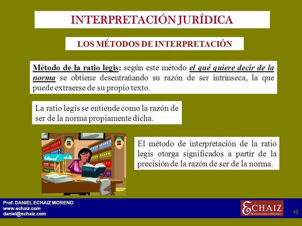 2912 Prof. DANIEL ECHAIZ MORENO www.echaiz.com daniel@echaiz.com 12 INTERPRETACIÓN JURÍDICA LOS MÉTODOS DE INTERPRETACIÓN Método de la ratio legis: se