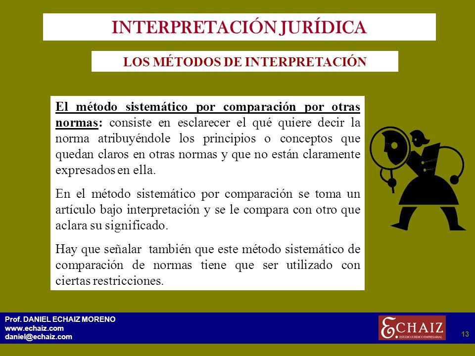 2913 Prof. DANIEL ECHAIZ MORENO www.echaiz.com daniel@echaiz.com 13 INTERPRETACIÓN JURÍDICA LOS MÉTODOS DE INTERPRETACIÓN El método sistemático por co