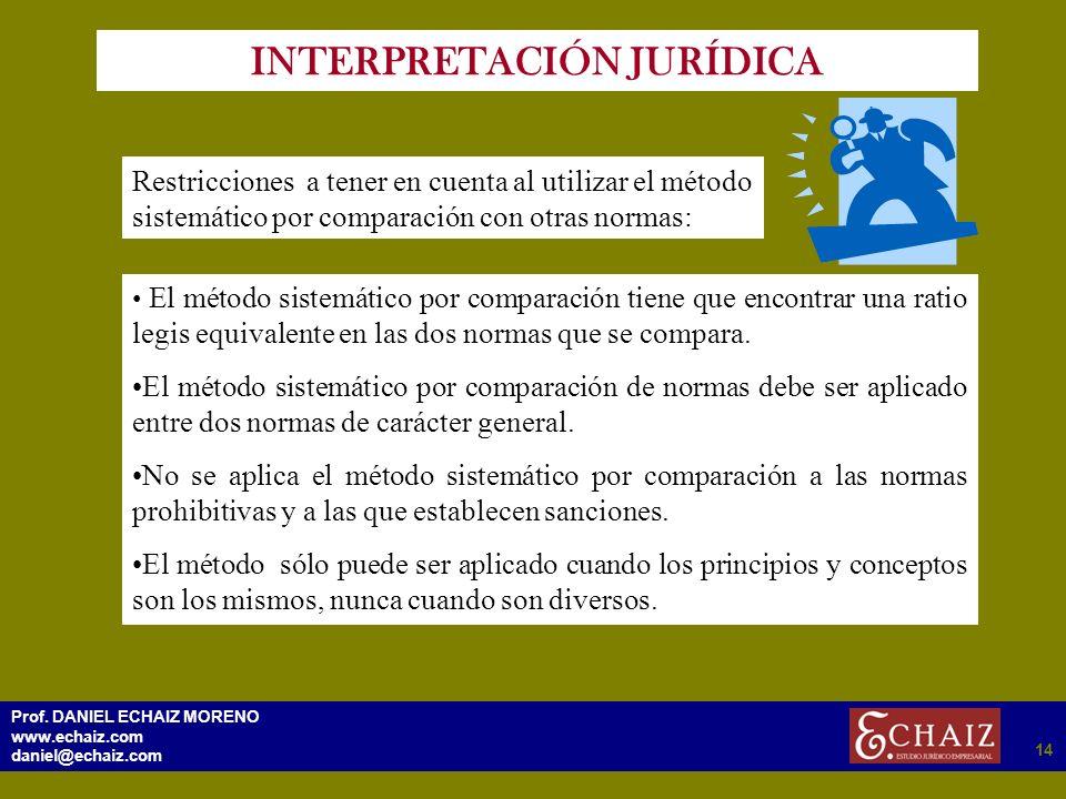 2914 Prof. DANIEL ECHAIZ MORENO www.echaiz.com daniel@echaiz.com 14 INTERPRETACIÓN JURÍDICA Restricciones a tener en cuenta al utilizar el método sist