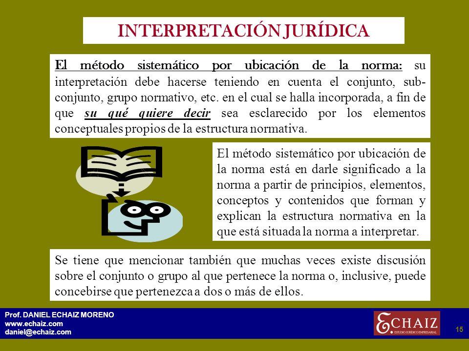 2915 Prof. DANIEL ECHAIZ MORENO www.echaiz.com daniel@echaiz.com 15 INTERPRETACIÓN JURÍDICA El método sistemático por ubicación de la norma : su inter