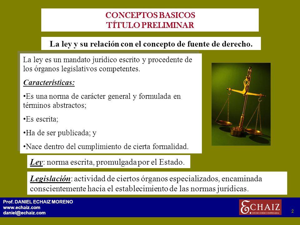 292 Prof. DANIEL ECHAIZ MORENO www.echaiz.com daniel@echaiz.com 2 CONCEPTOS BASICOS TÍTULO PRELIMINAR La ley y su relación con el concepto de fuente d