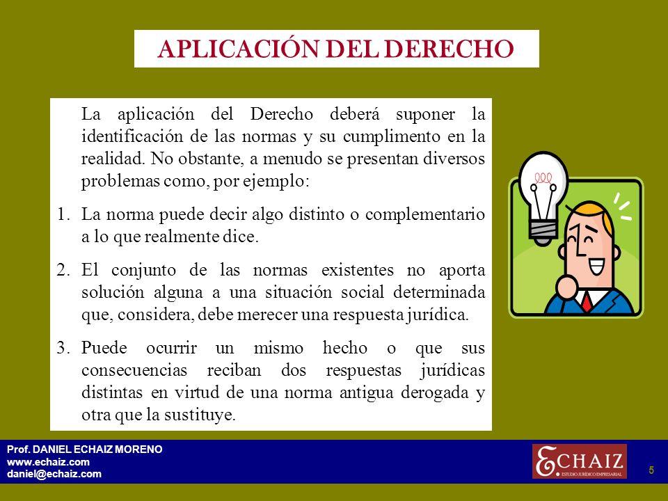 295 Prof. DANIEL ECHAIZ MORENO www.echaiz.com daniel@echaiz.com 5 APLICACIÓN DEL DERECHO La aplicación del Derecho deberá suponer la identificación de