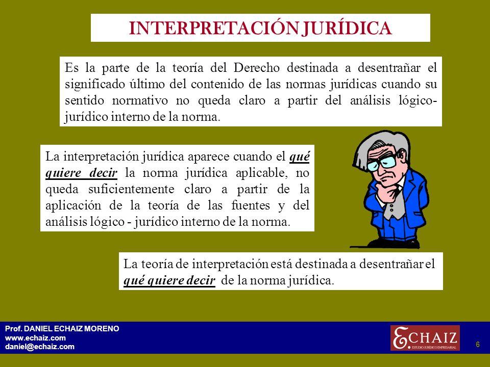 296 Prof. DANIEL ECHAIZ MORENO www.echaiz.com daniel@echaiz.com 6 INTERPRETACIÓN JURÍDICA Es la parte de la teoría del Derecho destinada a desentrañar