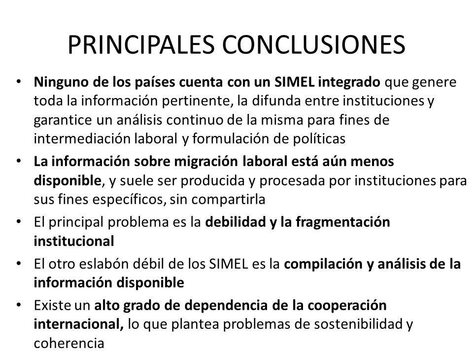 PRINCIPALES CONCLUSIONES Ninguno de los países cuenta con un SIMEL integrado que genere toda la información pertinente, la difunda entre instituciones