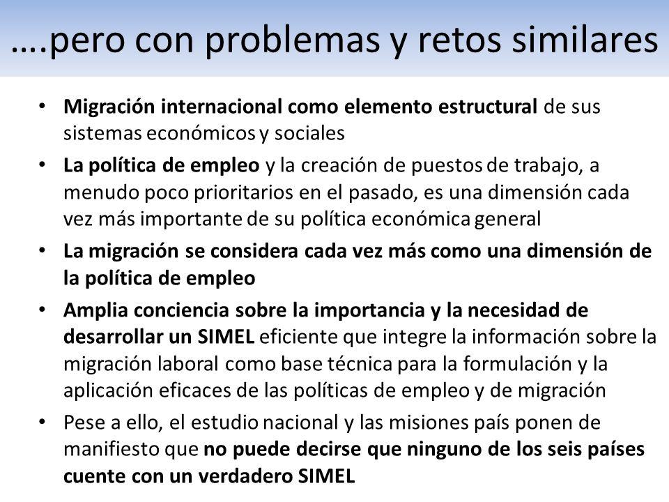 ….pero con problemas y retos similares Migración internacional como elemento estructural de sus sistemas económicos y sociales La política de empleo y