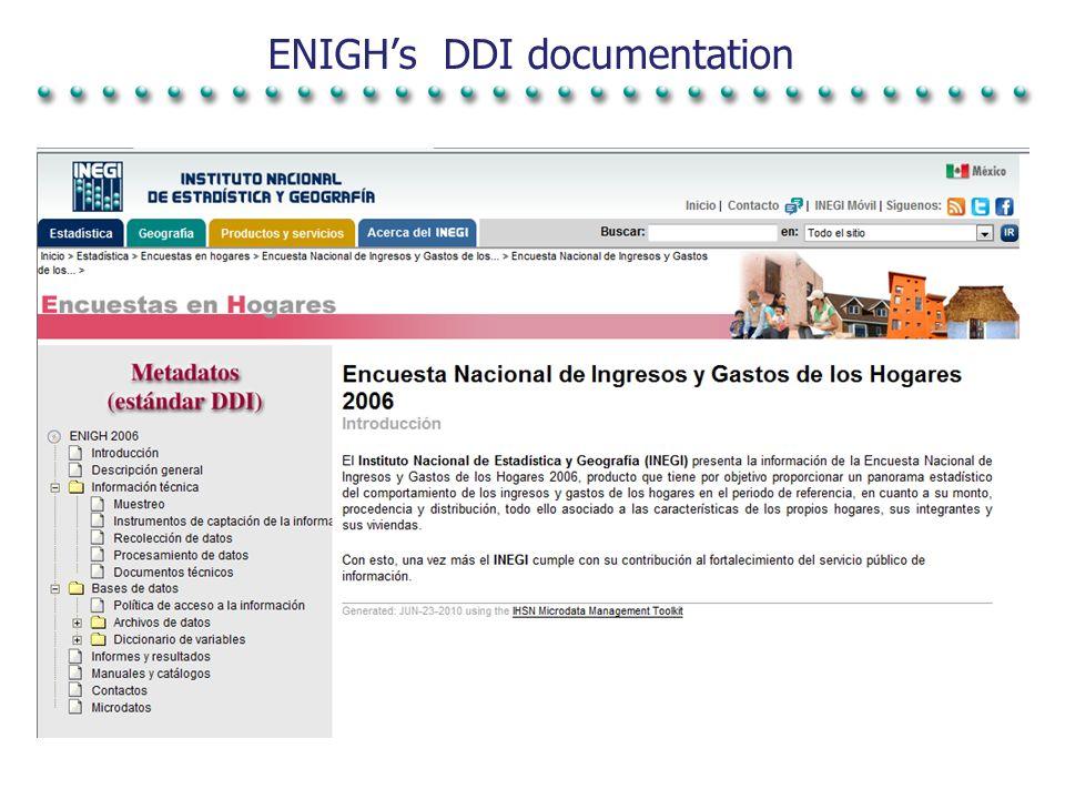 Future plans To elaborate DDI documentation of INEGI s projects.