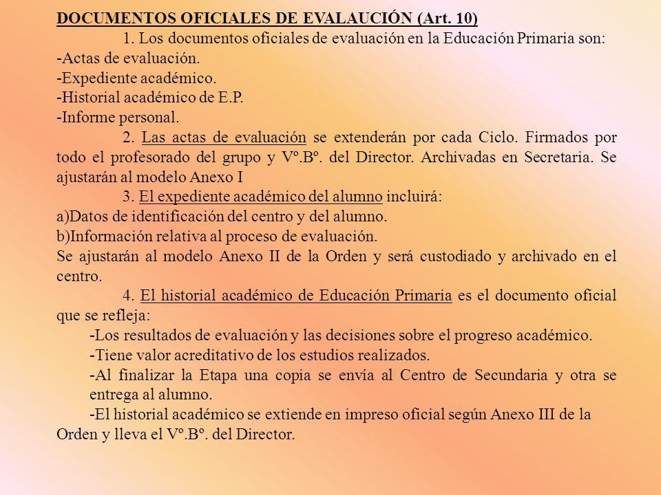 DOCUMENTOS OFICIALES DE EVALAUCIÓN (Art. 10) 1. Los documentos oficiales de evaluación en la Educación Primaria son: -Actas de evaluación. -Expediente