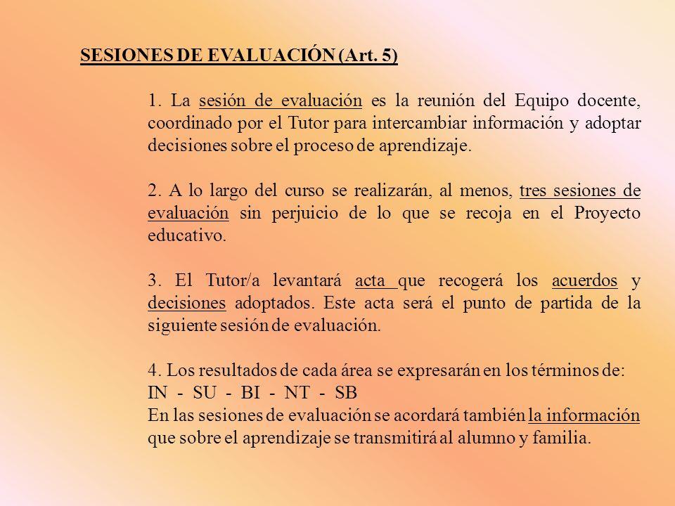 SESIONES DE EVALUACIÓN (Art. 5) 1. La sesión de evaluación es la reunión del Equipo docente, coordinado por el Tutor para intercambiar información y a