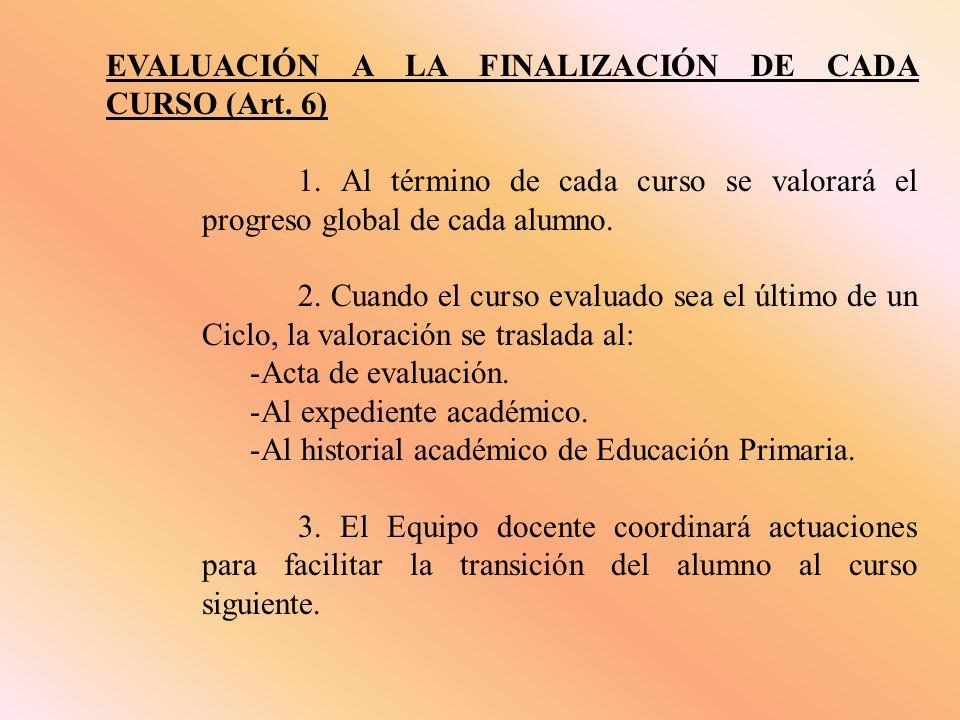 EVALUACIÓN A LA FINALIZACIÓN DE CADA CURSO (Art. 6) 1.
