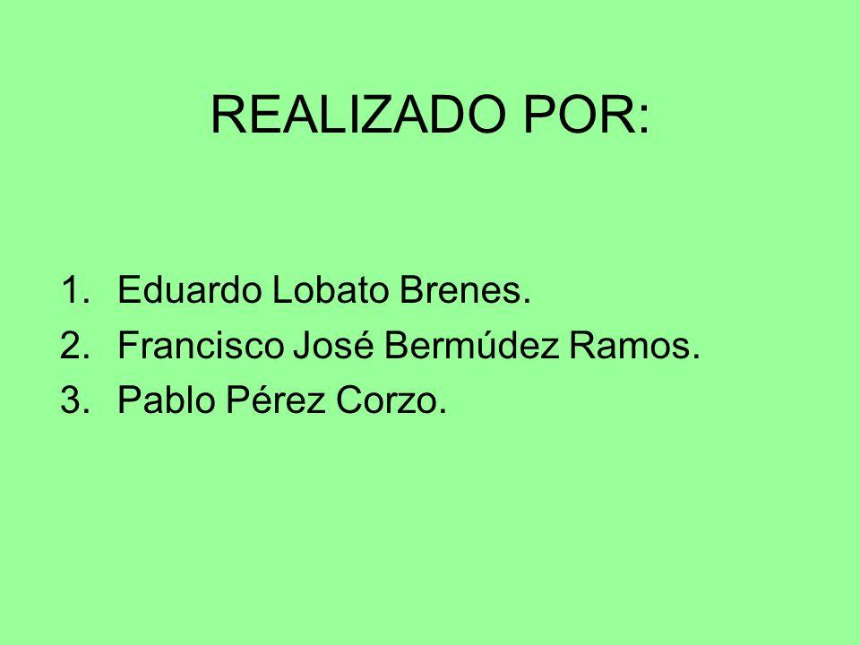 REALIZADO POR: 1.Eduardo Lobato Brenes. 2.Francisco José Bermúdez Ramos. 3.Pablo Pérez Corzo.